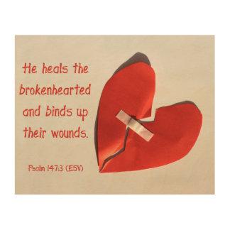 Guérisseur d'art d'écriture sainte de 147:3 de canevas en bois
