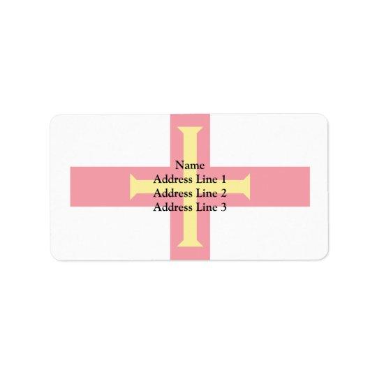 Guernesey, drapeau de Guernesey Étiquette D'adresse