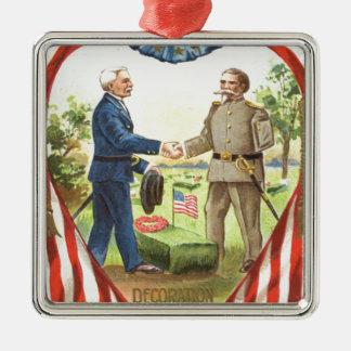 Guerre civile des syndicats de confédéré de ornement carré argenté