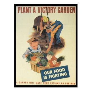 Guerre mondiale de jardin de victoire 2 cartes postales