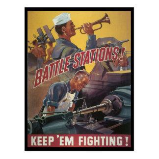 Guerre mondiale de stations de bataille 2 cartes postales