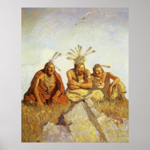 Guerre ou paix de gardiens par OR Wyeth, ouest vin Poster