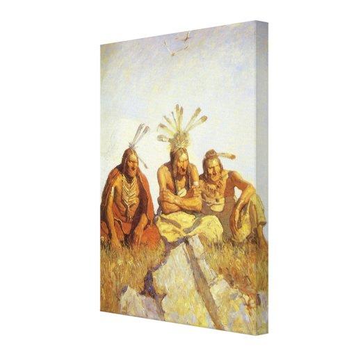Guerre ou paix de gardiens par OR Wyeth, ouest vin Toile Tendue