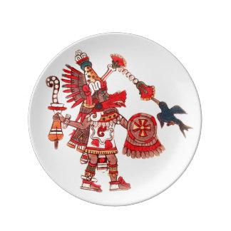 Guerrier aztèque de chaman de danse assiette en porcelaine