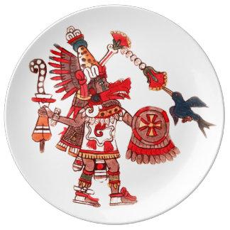 Guerrier aztèque de chaman de danse assiettes en porcelaine