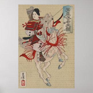 Guerrier féminin Hangaku samouraï Gozen de Poster