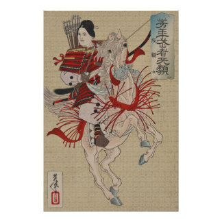Guerrier féminin Hangaku samouraï Gozen de Posters