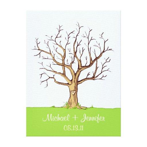 Guestbook d'arbre d'empreinte digitale de mariage toile tendue