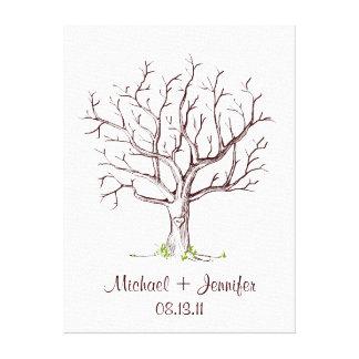 Guestbook d'arbre d'empreinte digitale de mariage toile tendue sur châssis