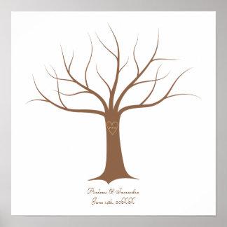 Guestbook de mariage d'arbre d'empreinte digitale affiche