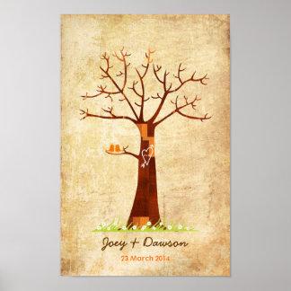 Guestbook de mariage d'arbre d'empreinte digitale  affiches
