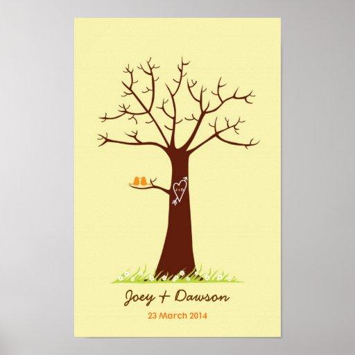 Guestbook de mariage d'arbre d'empreinte digitale  poster