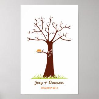 Guestbook de mariage d'arbre d'empreinte digitale  posters