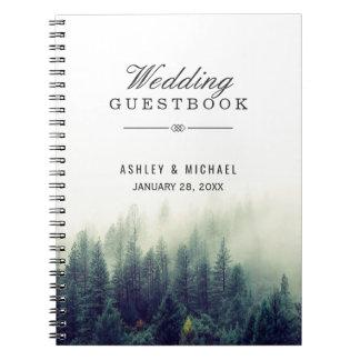 Guestbook de mariage - forêt élégante de pin carnet