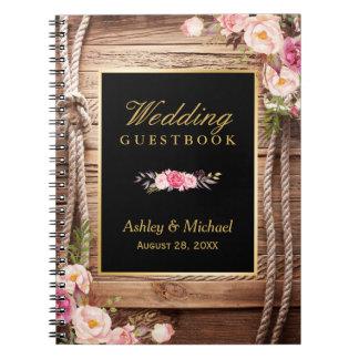 Guestbook de mariage - noeud en bois rustique carnet à spirale