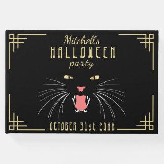 Guestbook élégant noir de sifflement de chat de livre d'or