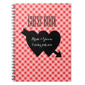 Guestbook rouge chic de mariage de motif de carnets