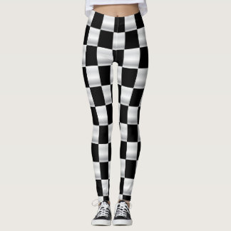Guêtres checkered simples de drapeau noires et leggings