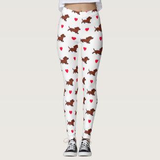 Guêtres courantes de coeurs de teckel lisse rouge leggings