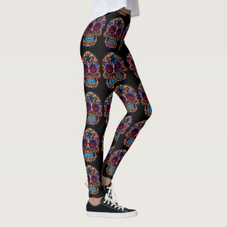 Guêtres de crâne de sucre sur le pantalon noir de leggings