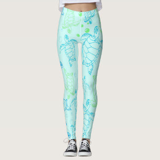 Guêtres de l'eau bleue de tortues leggings