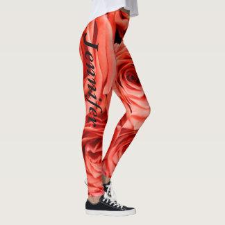 Guêtres de roses courant le pantalon pulsant des leggings