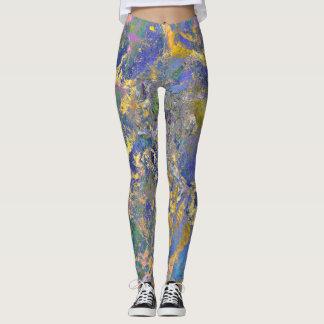 Guêtres de yoga avec la conception Marbleized Leggings