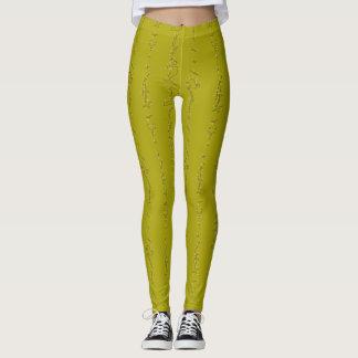 Guêtres de zigzag de vert jaune leggings