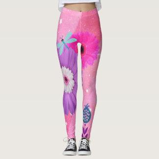 Guêtres lunatiques roses lumineuses de fleur leggings