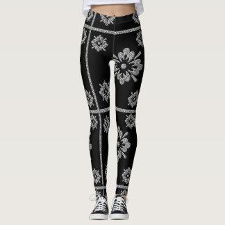 Guêtres noires et argentées fraîches de conception leggings