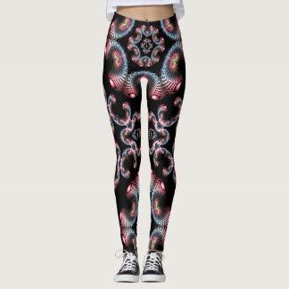 Guêtres noires et roses de conception de fractale leggings