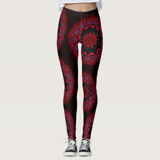 Guêtres rouges/noires de mandala leggings