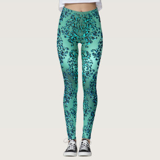 Guêtres turquoises d'impression de damassé de vert leggings