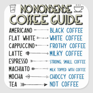 Guide de café sticker carré