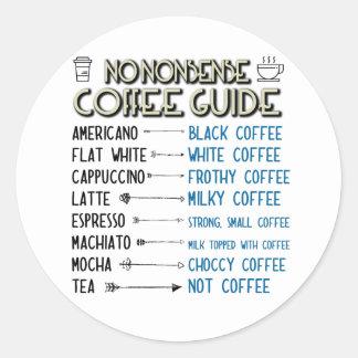 Guide de café sticker rond