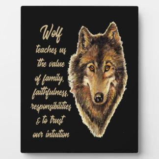 Guide d'esprit animal de totem de loup pour plaque photo