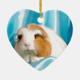 guinea pig ornement cœur en céramique