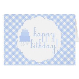 Guingan bleu et carte de joyeux anniversaire de