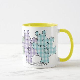 Guingan heureux de pastel d'hippopotames mugs