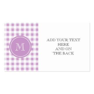 Guingan lilas et blanc, votre monogramme carte de visite