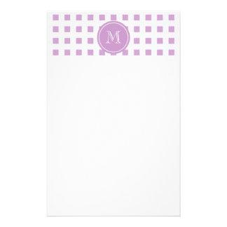 Guingan lilas et blanc, votre monogramme papier à lettre personnalisé