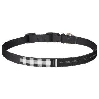 Guingan noir et blanc, votre monogramme collier pour chien