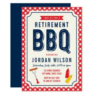 Guingan rouge et BBQ bleu de partie de retraite Carton D'invitation 12,7 Cm X 17,78 Cm