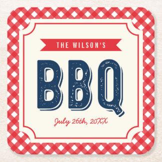 Guingan rouge et BBQ bleu d'été Dessous-de-verre Carré En Papier