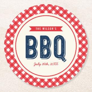 Guingan rouge et BBQ bleu d'été Dessous-de-verre Rond En Papier