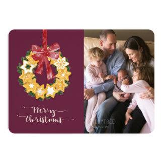 Guirlande de biscuit de Noël avec l'arrière - plan Carton D'invitation 12,7 Cm X 17,78 Cm