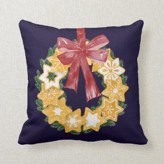 Guirlande de biscuit de Noël avec l'arrière - plan Coussin