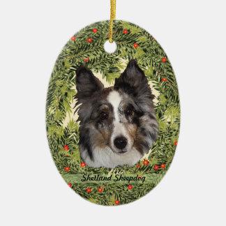 Guirlande de chien de berger de Shetland Ornement Ovale En Céramique