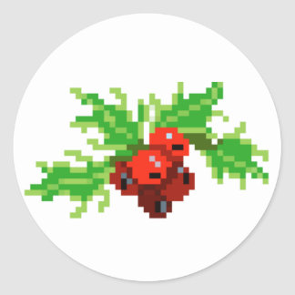 Guirlande de houx d'art de pixel sticker rond