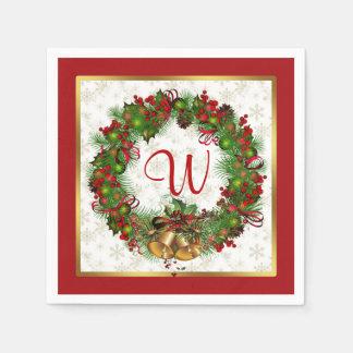 Guirlande de Noël, cloches, monogramme de houx Serviette Jetable